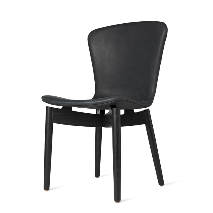 Shell Dining Chair by Mater in Black Stained Oak / Anthracite Black Dunes Leather