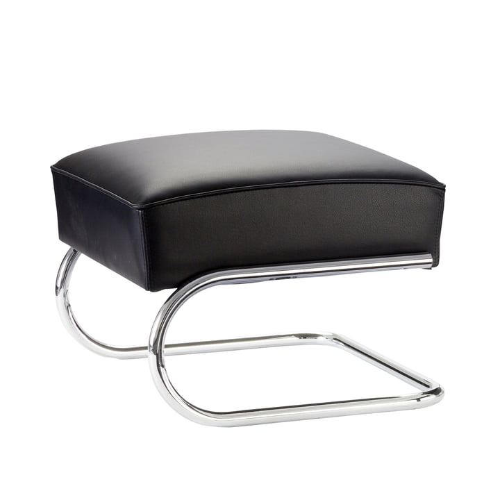 S 411 H footstool by Thonet in chrome / black nappaleather (622 Nero)