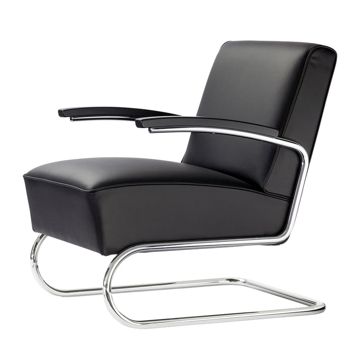 S 411 Armchair from Thonet in chrome / leather black / beech black