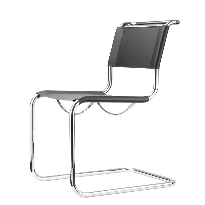 S 33 L Chair by Thonet in chrome / core black leather