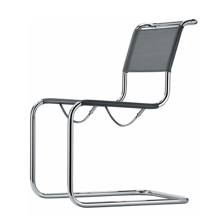 S 33 N Chair by Thonet in Chrome / Silver Fabric