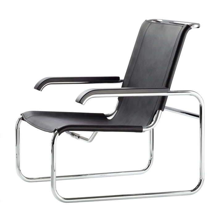 S 35 L Chair by Thonet in chrome / core black leather