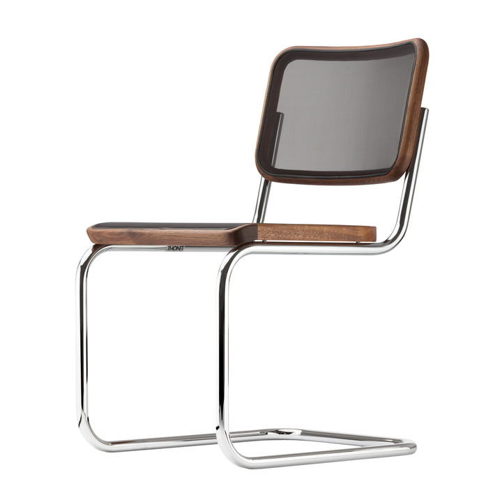 The S 32 N Chair by Thonet in Chrome / Oiled Walnut / Black Mesh (Pure Material)