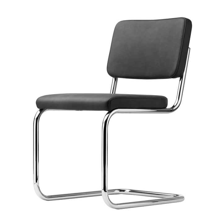 S 32 PV Chair by Thonet in Chrome / Black Linea Leather (622 Nero)