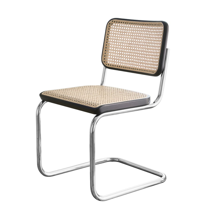 S 32 Chair by Thonet in chrome / beech stained black (TP 29) / cane wickerwork