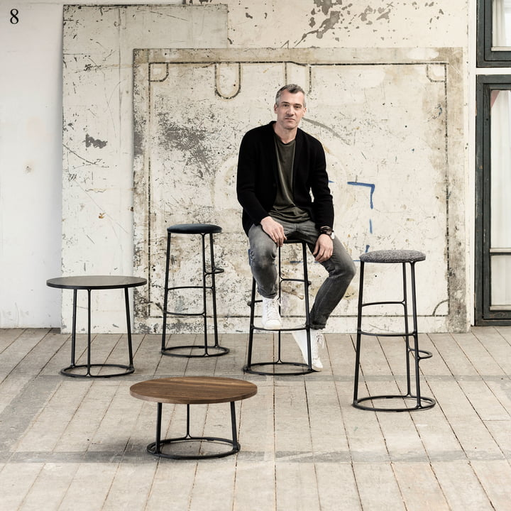 Barbry Coffee Table and Bar Stool by Fredericia
