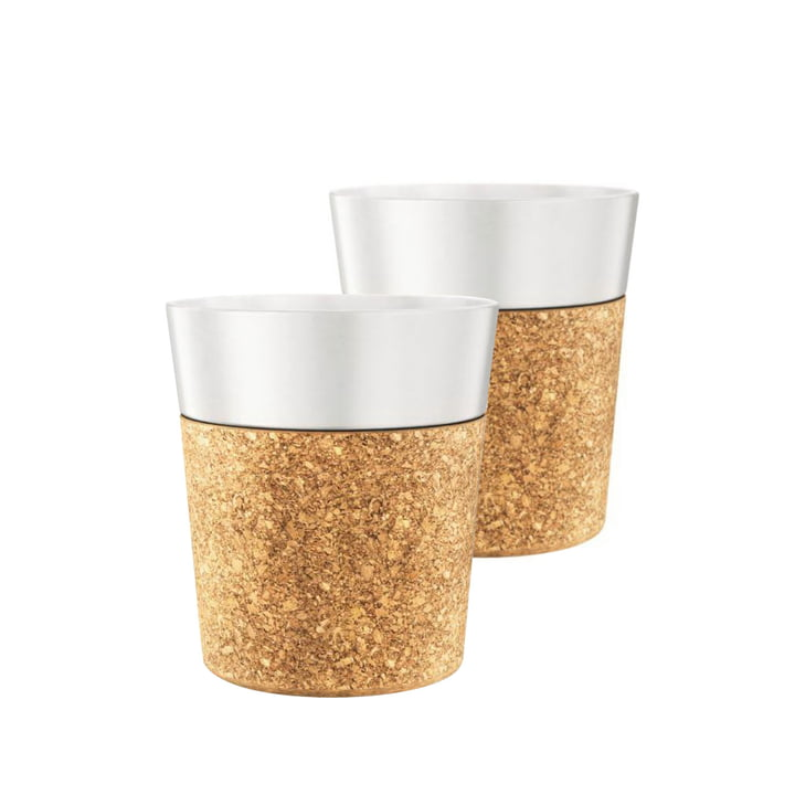 Bistro Coffee Mug 0.17 l, Porcelain / Cork (set of 2) by Bodum