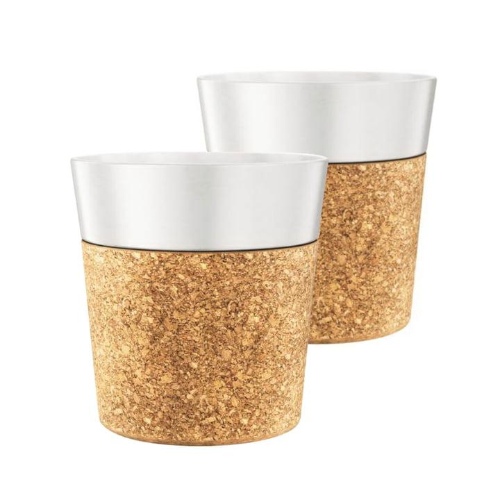 Bistro Coffee Mug 0.3 l, Porcelain / Cork (set of 2) by Bodum