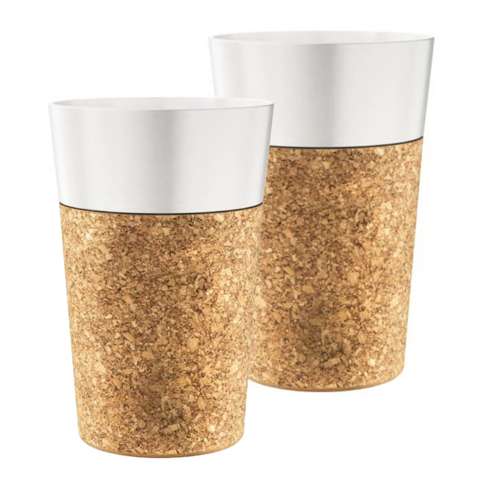 Bistro Coffee Mug 0.6 l, Porcelain / Cork (set of 2) by Bodum