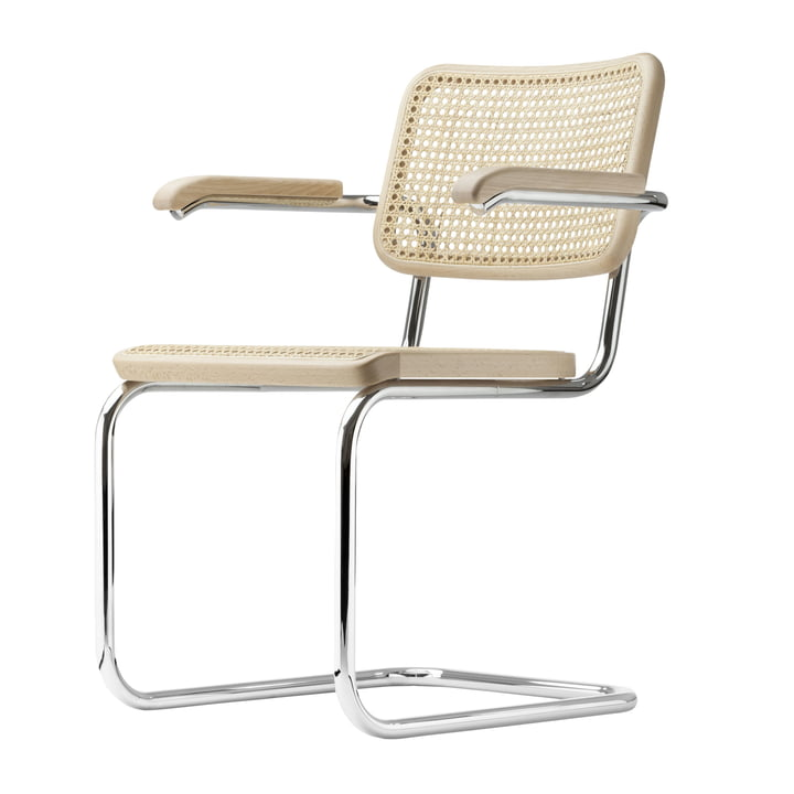 The S 64 V Chair by Thonet, chrome-plated / black stained beech (TP 17) / Supporting Synethetic Mesh.