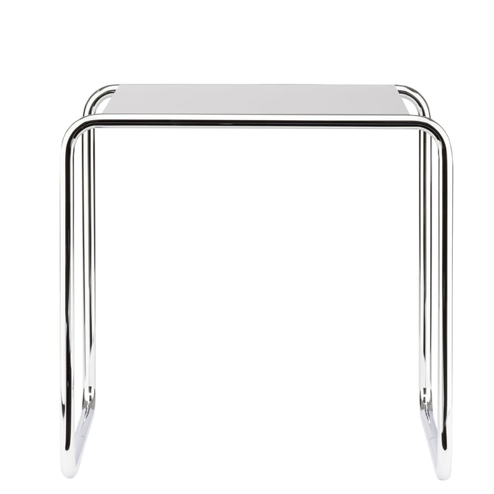 B 9 b Nesting Table by Thonet in Chrome / Pure White (RAL 9010)