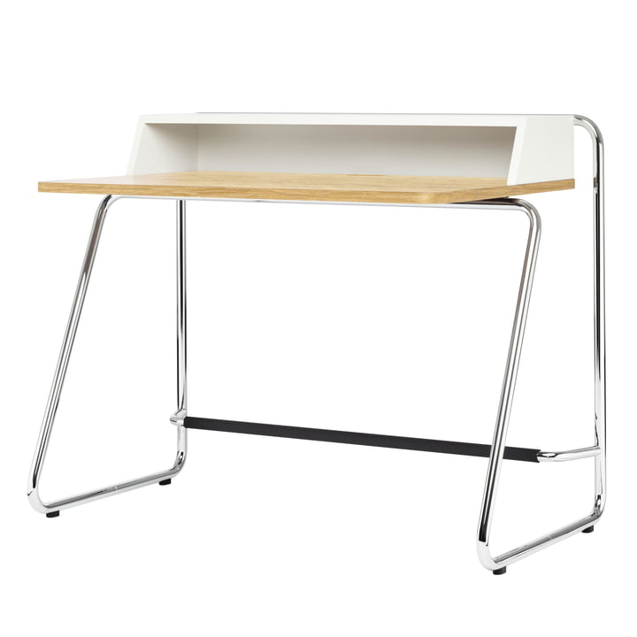 S 1200 Secretary from Thonet in chrome / pure white (RAL 9010) / oiled oak