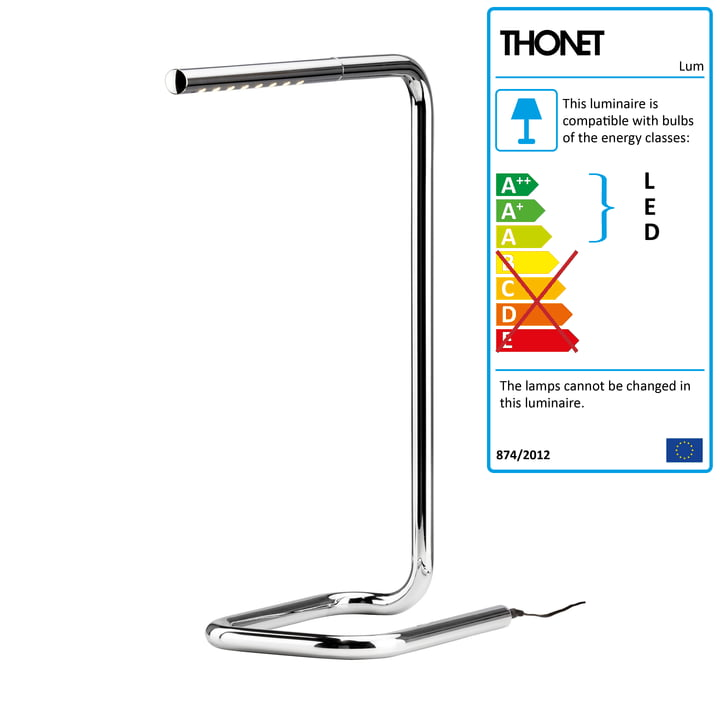 Lum Table Lamp LED H 50 cm by Thonet in Chrome