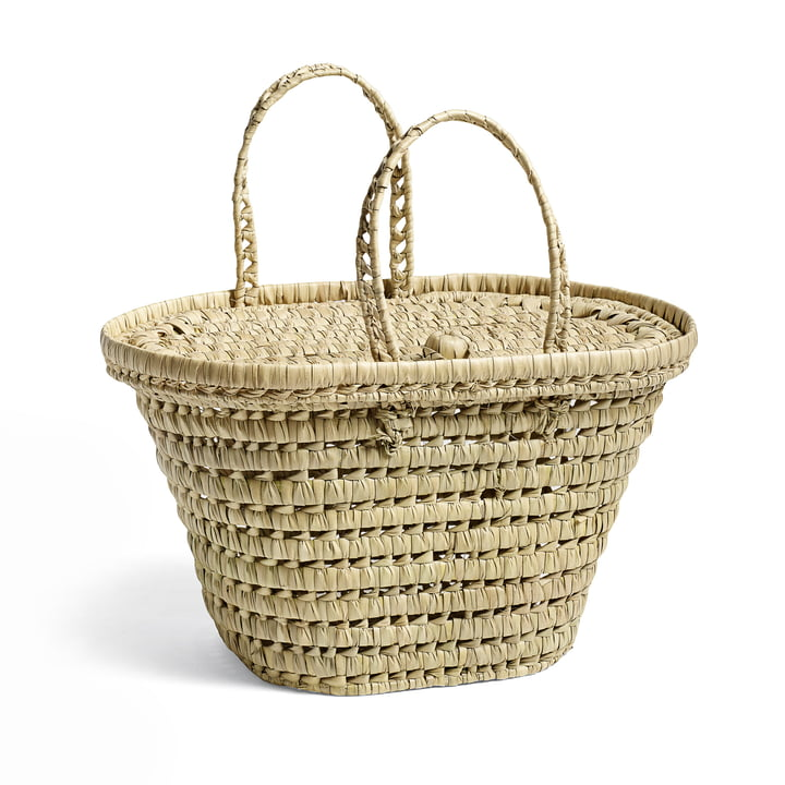 Picnic Basket by Hay in nature