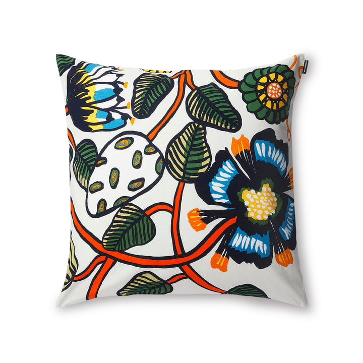 Tiara Cushion Cover 50 x 50 cm by Marimekko in White / Blue / Orange.