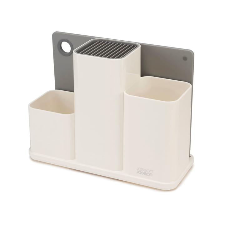 The Joseph Joseph - CounterStore Kitchen Worktop Organiser with Chopping Board in Grey / White