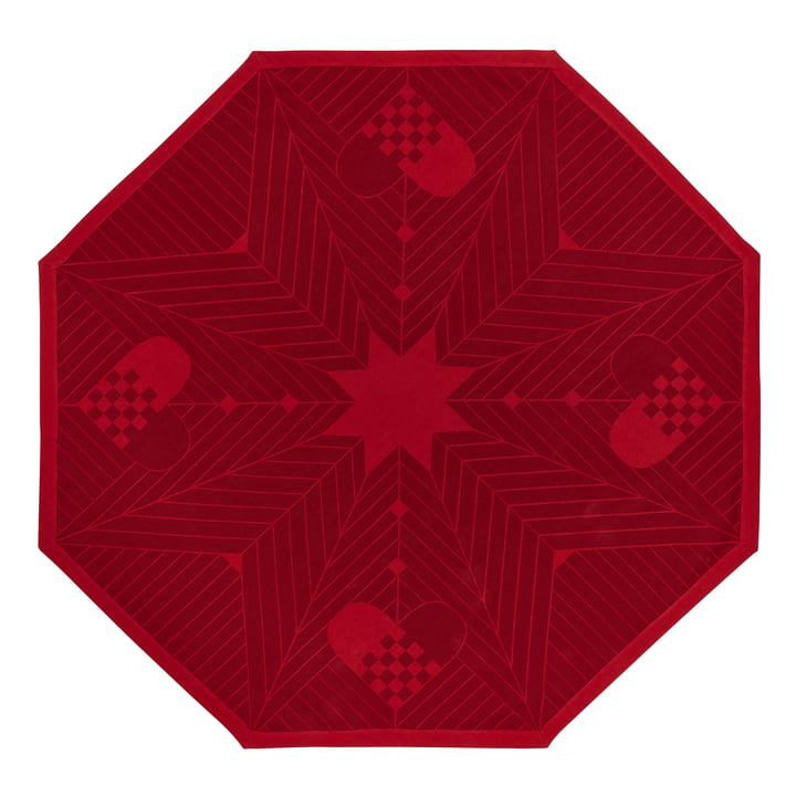 Octagon Christmas tree carpet 130 x 130 cm by Georg Jensen Damask in deep red