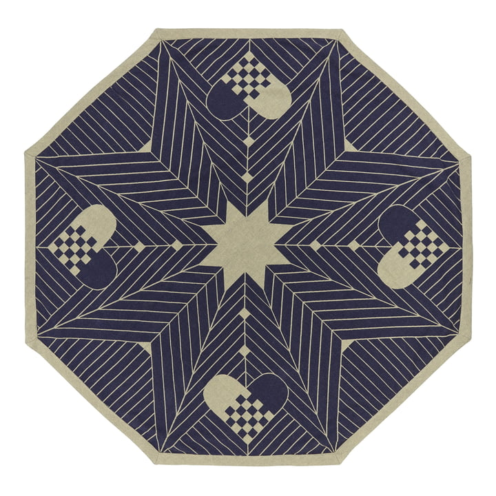 Octagon Chritmas Tree Rug by Georg Jensen Damask 130 x 130 cm in Blue Gold
