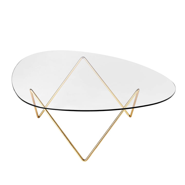Pedrera coffee table by Gubi in brass / clear
