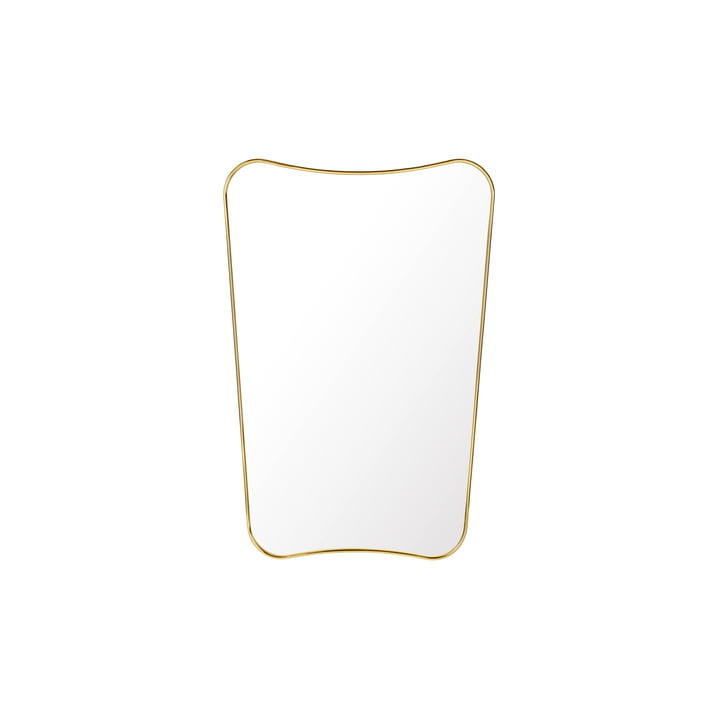 F.A. 33 Rectangular Wall Mirror 80 x 54 by Gubi in Brass