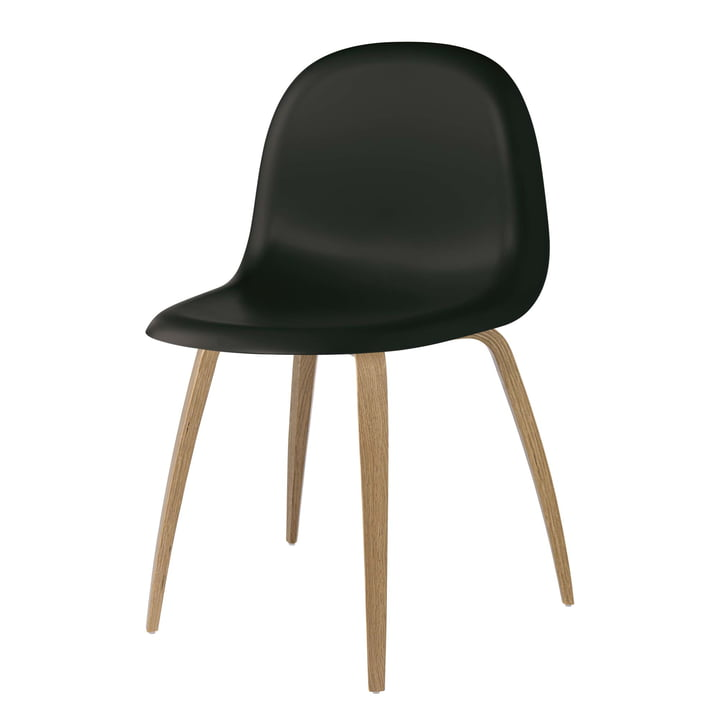 3D Dining Chair Wood Base by Gubi in Oak / Midnight Black: