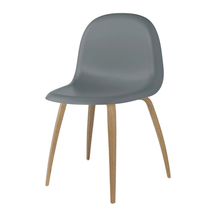 3D Dining Chair Wood Base by Gubi in Oak / Rainy Grey