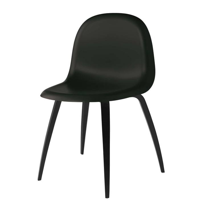 Gubi - 3D Dining Chair, HiRek / Wood Base, Black Stained Beech / Midnight Black