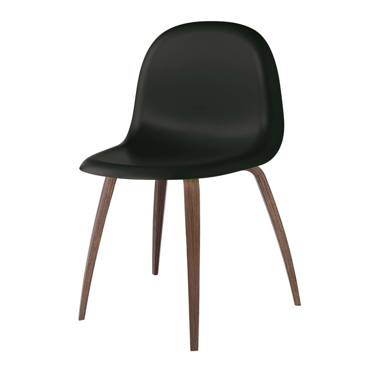 3D Dining Chair Wood Base by Gubi in Walnut / Midnight Black
