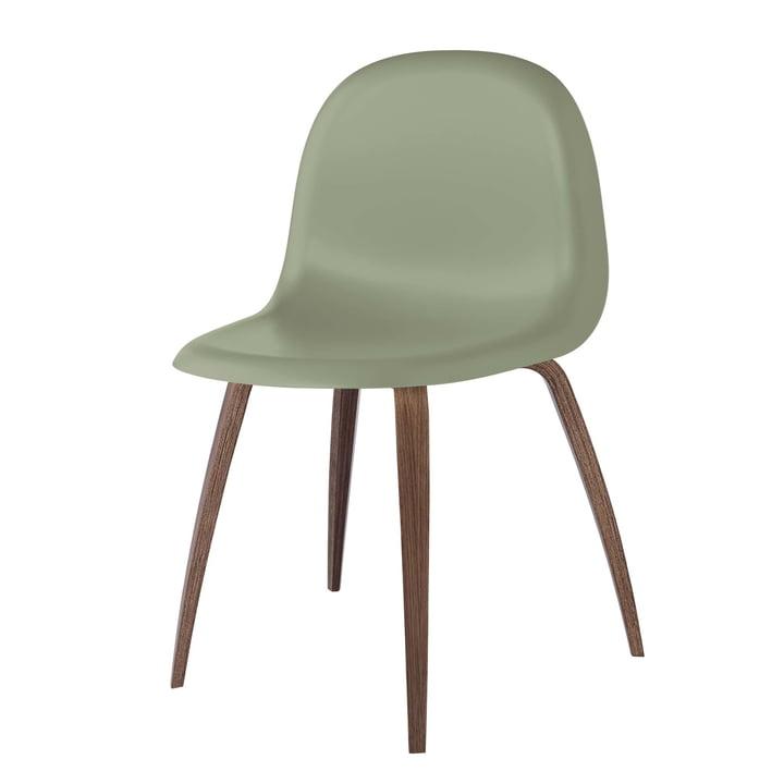 3D Dining Chair Wood Base by Gubi in Walnut / Mistletoe Green: