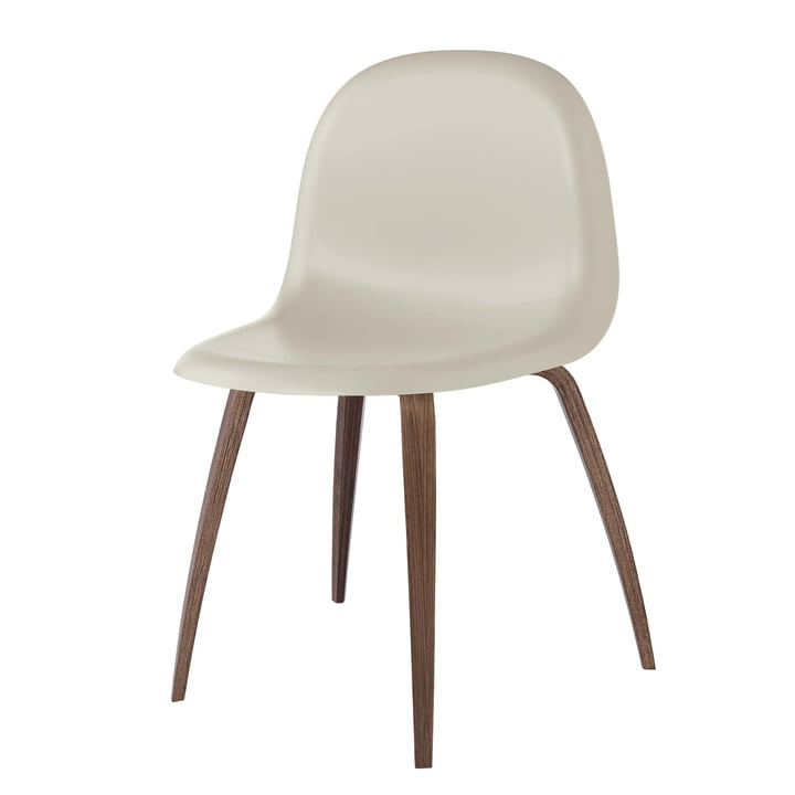 3D Dining Chair Wood Base by Gubi in Walnut / Moon Grey