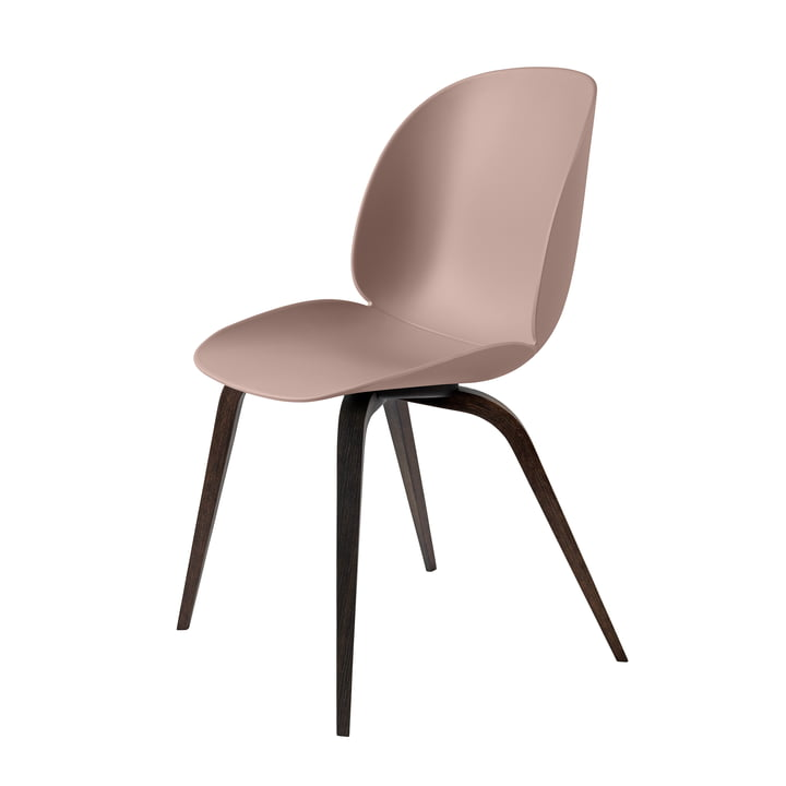 Beetle Dining Chair with wood base in stained black / sweet pink