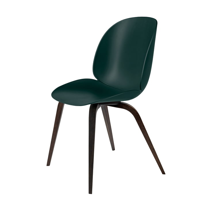 Beetle Dining Chair with Wood Base in Stained Black / Green