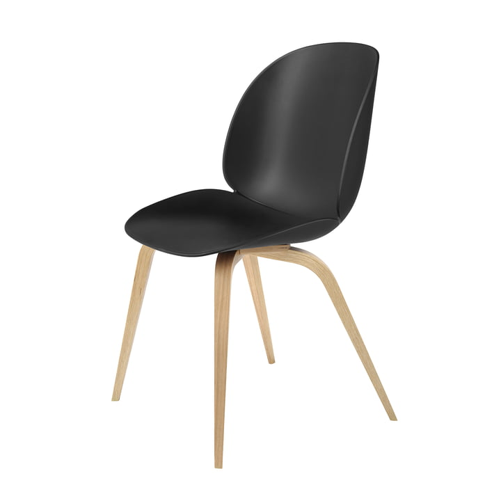 Beetle Dining Chair with Wood Base in Oak / Black