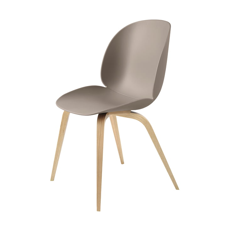 Beetle Dining Chair with Wood Base in Oak / New Beige