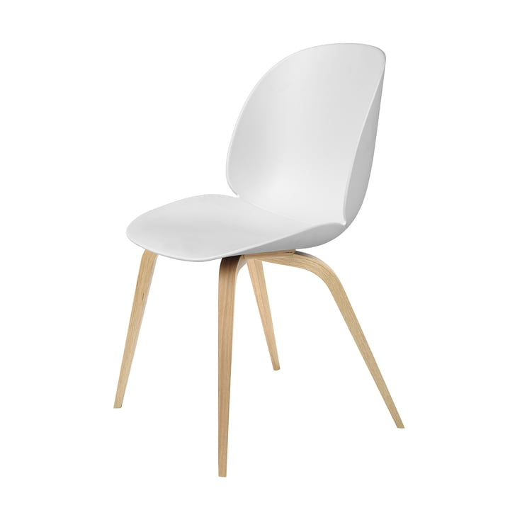 Beetle Dining Chair with Wood Base in Oak / White