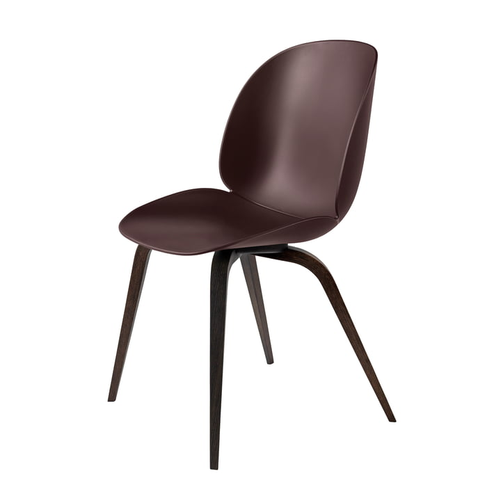 Beetle Dining Chair with Wood Base in Smoked Oak / Dark Pink