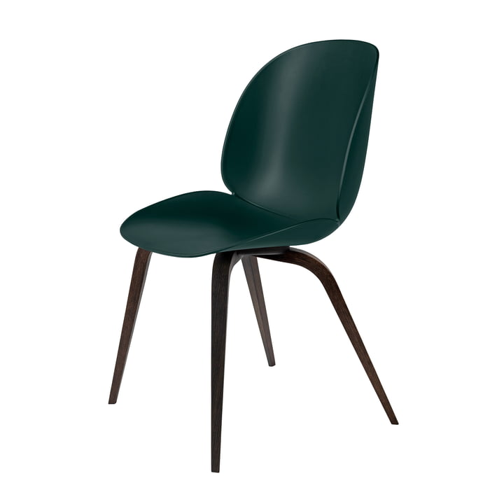 Isolated product image of the Beetle Dining Chair with wood base in smoked oak / green