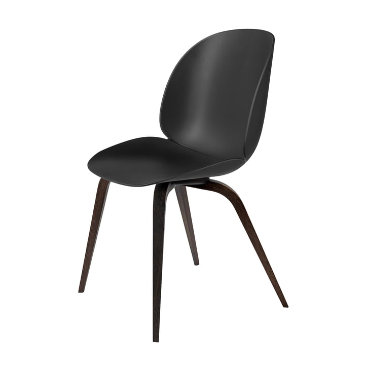Beetle Dining Chair with Wood Base by Gubi in Smoked Oak / Black