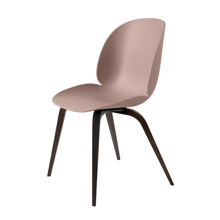 Beetle Dining Chair with Wood Base by Gubi in Smoked Oak / Sweet Pink