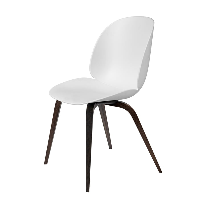 Beetle Dining Chair with wood base by Gubi in Smoked Oak / White