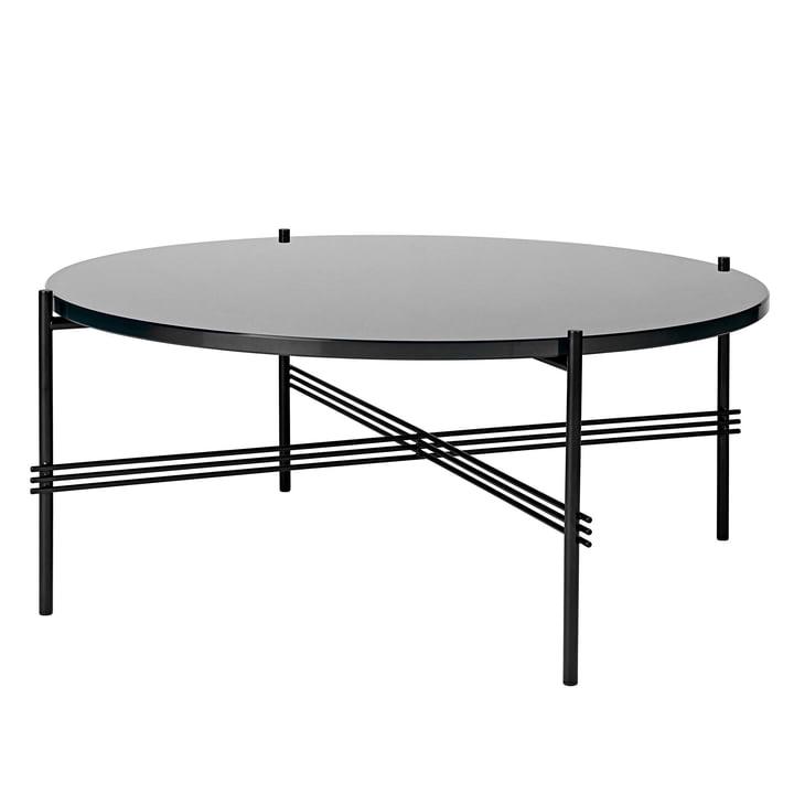 TS Coffee Table Ø 80 cm in Black / Black Glass