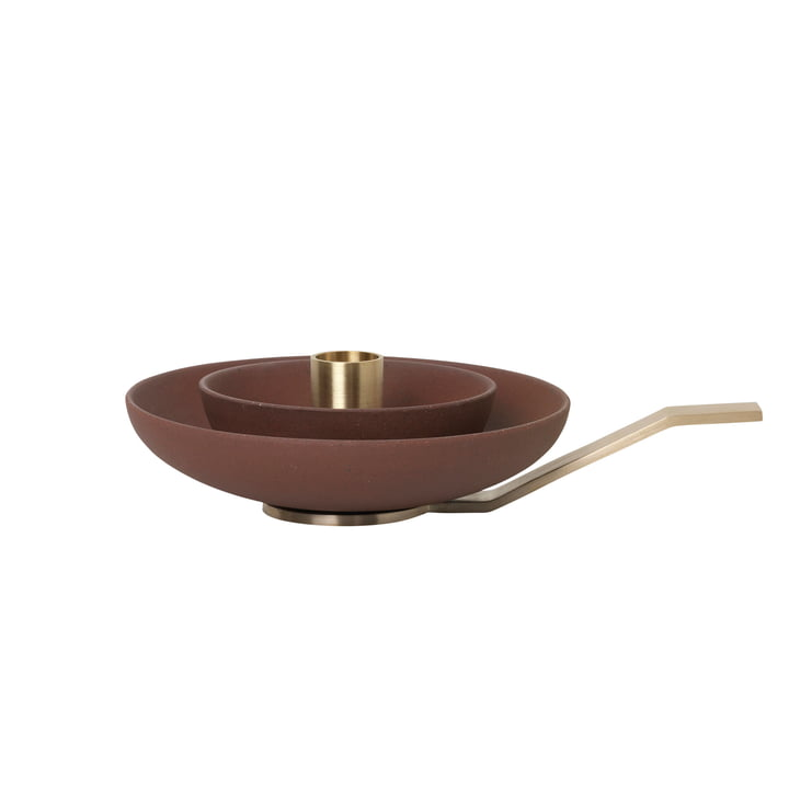 Around Candleholder by ferm Living in Brass / Russet