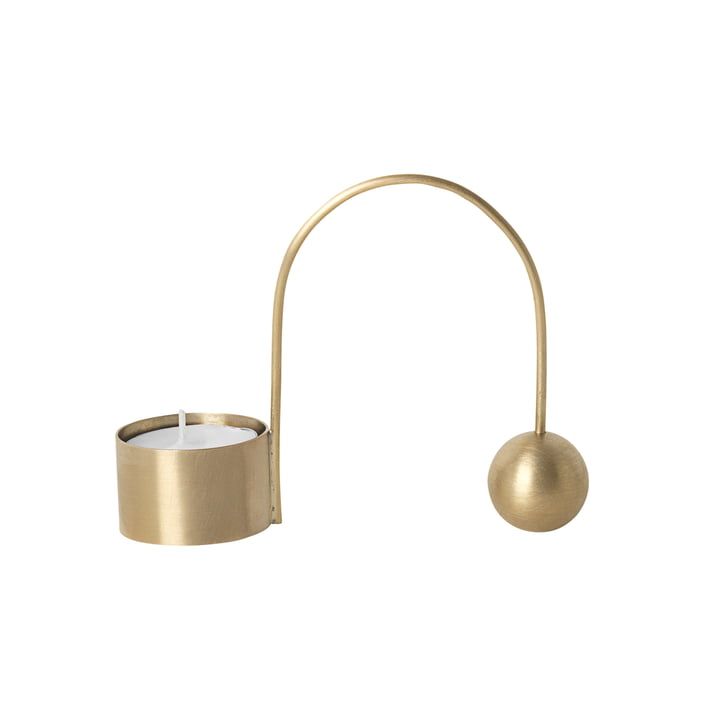 Tealight holder Balance by ferm Living in brass