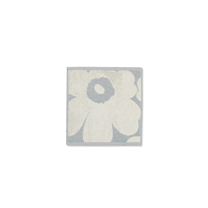 Unikko Solid Mini Towel 25 x 25 cm by Marimekko in Cream White / Blue