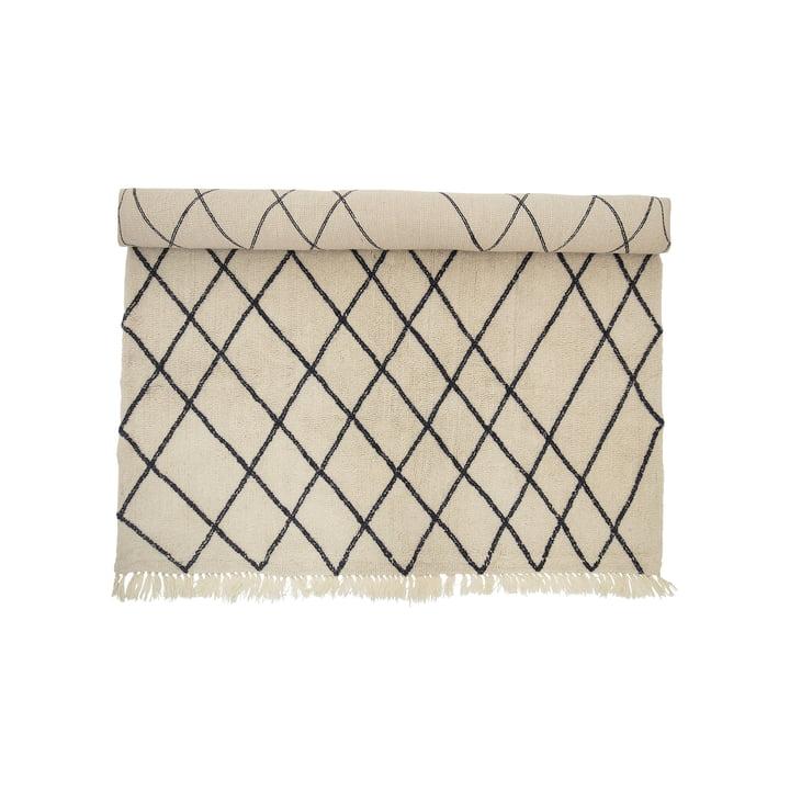 Wool Rug 300 x 200 cm with Diamond Pattern by Bloomingville in Beige / Black