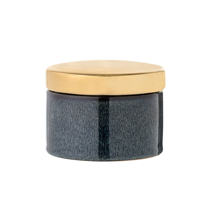 Storage box from Bloomingville in brass / blue
