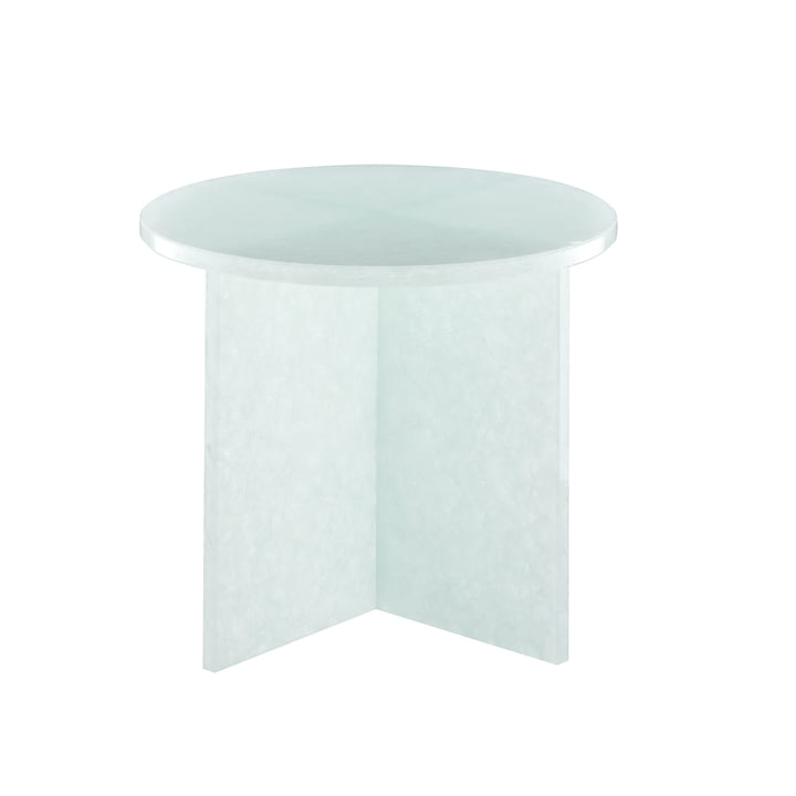 Font Round Table Small, H 46 x Ø 44 cm by Pulpo in Polar White