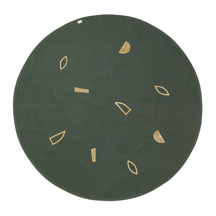 ferm living - Christmas Tree Blanket Ø 120 cm, gold / green