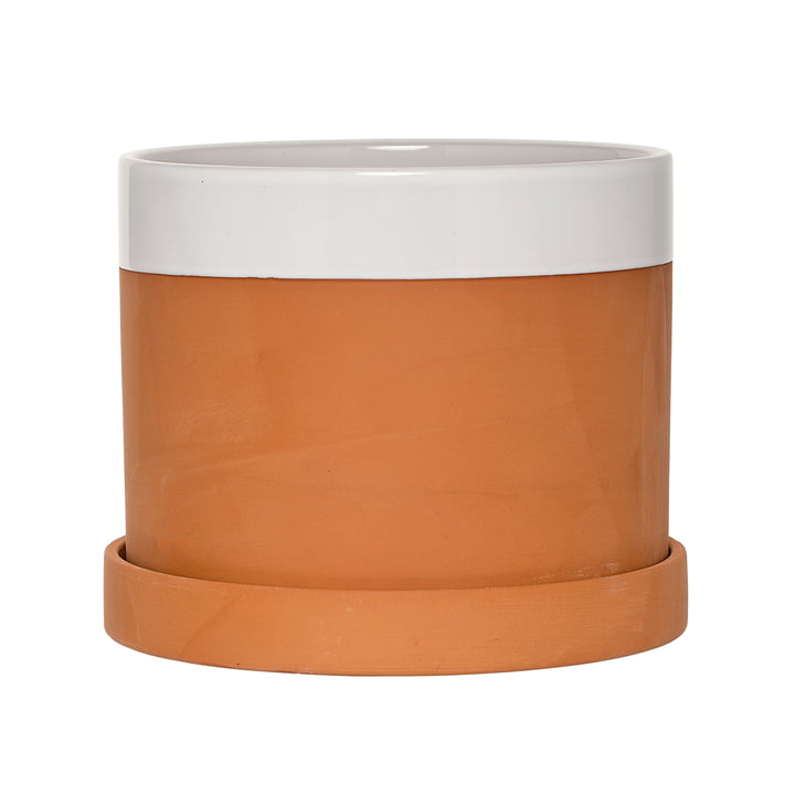 Bloomingville - Terracotta Flower Pot with Saucer in White / Terracotta