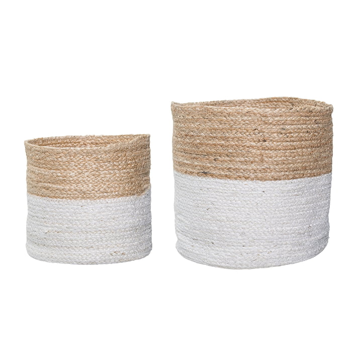 Jute Basket (set of 2) by Bloomingville in White